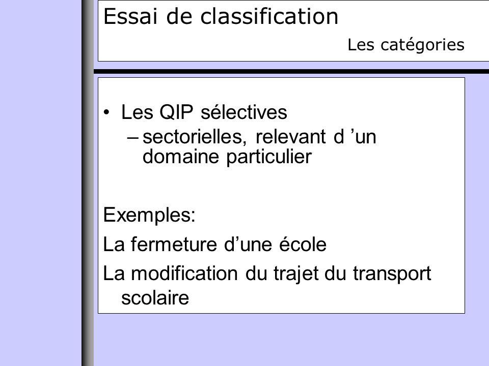 Essai de classification Les catégories Les QIP sélectives –sectorielles, relevant d un domaine particulier Exemples: La fermeture dune école La modification du trajet du transport scolaire