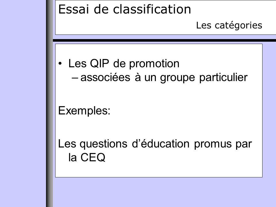 Essai de classification Les catégories Les QIP de promotion –associées à un groupe particulier Exemples: Les questions déducation promus par la CEQ