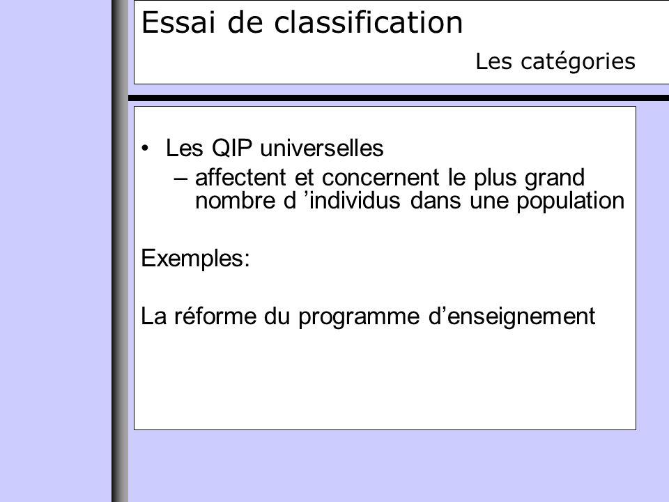 Essai de classification Les catégories Les QIP universelles –affectent et concernent le plus grand nombre d individus dans une population Exemples: La réforme du programme denseignement
