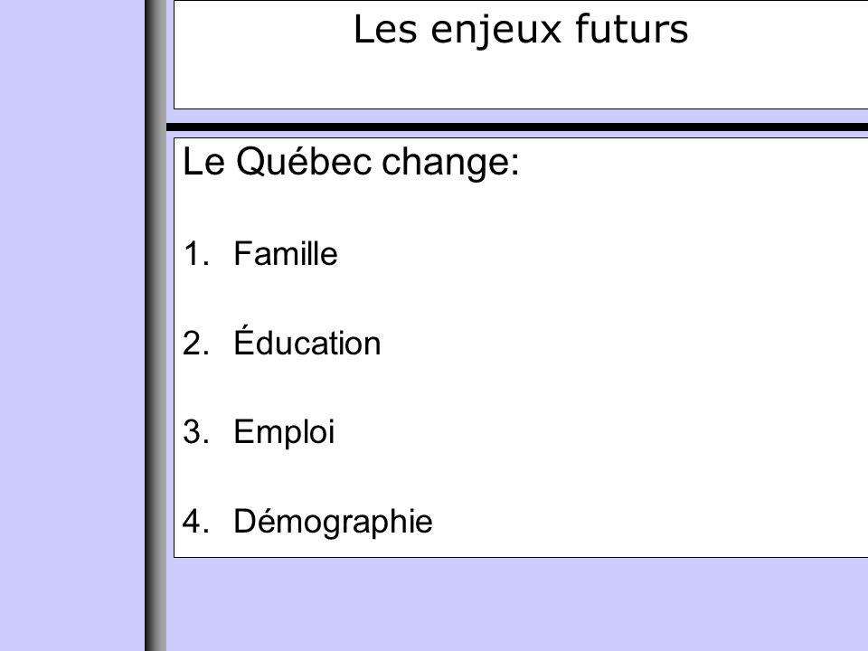 Les enjeux futurs Le Québec change: 1.Famille 2.Éducation 3.Emploi 4.Démographie