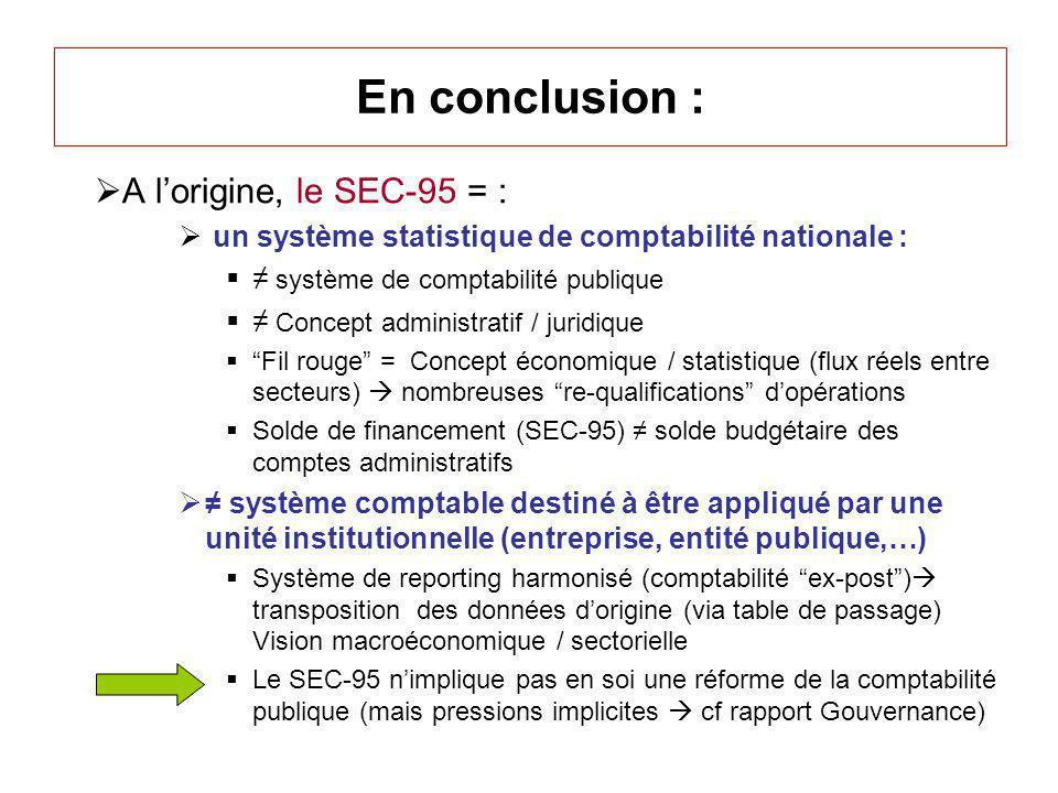 En conclusion : A lorigine, le SEC-95 = : un système statistique de comptabilité nationale : système de comptabilité publique Concept administratif /