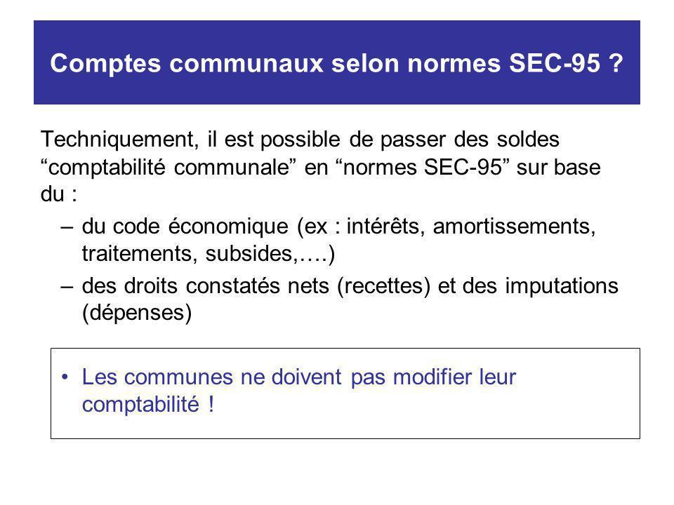 Comptes communaux selon normes SEC-95 ? Techniquement, il est possible de passer des soldes comptabilité communale en normes SEC-95 sur base du : –du