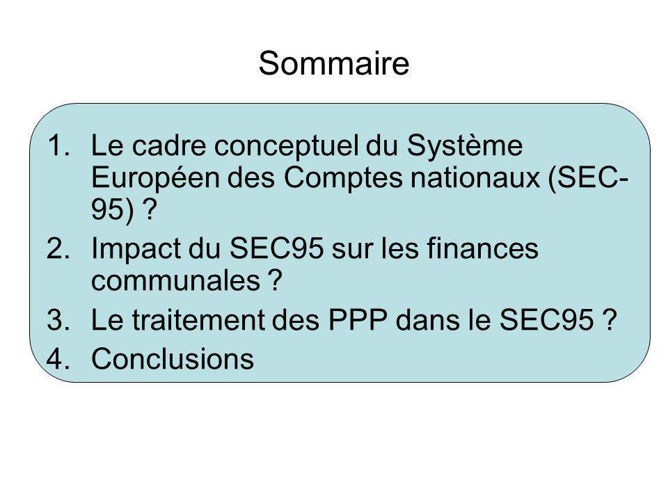 Sommaire 1.Le cadre conceptuel du Système Européen des Comptes nationaux (SEC- 95) ? 2.Impact du SEC95 sur les finances communales ? 3.Le traitement d