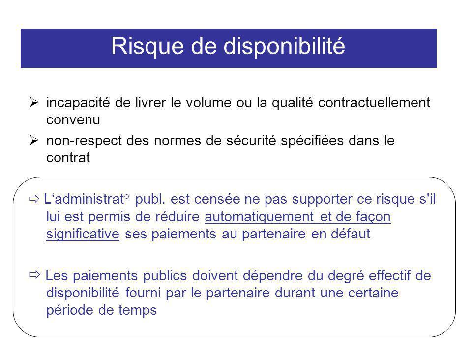 Risque de disponibilité incapacité de livrer le volume ou la qualité contractuellement convenu non-respect des normes de sécurité spécifiées dans le c