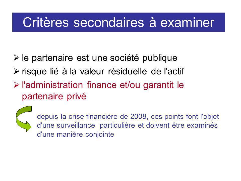 Critères secondaires à examiner le partenaire est une société publique risque lié à la valeur résiduelle de l actif l administration finance et/ou garantit le partenaire privé depuis la crise financière de 2008, ces points font l objet d une surveillance particulière et doivent être examinés d une manière conjointe