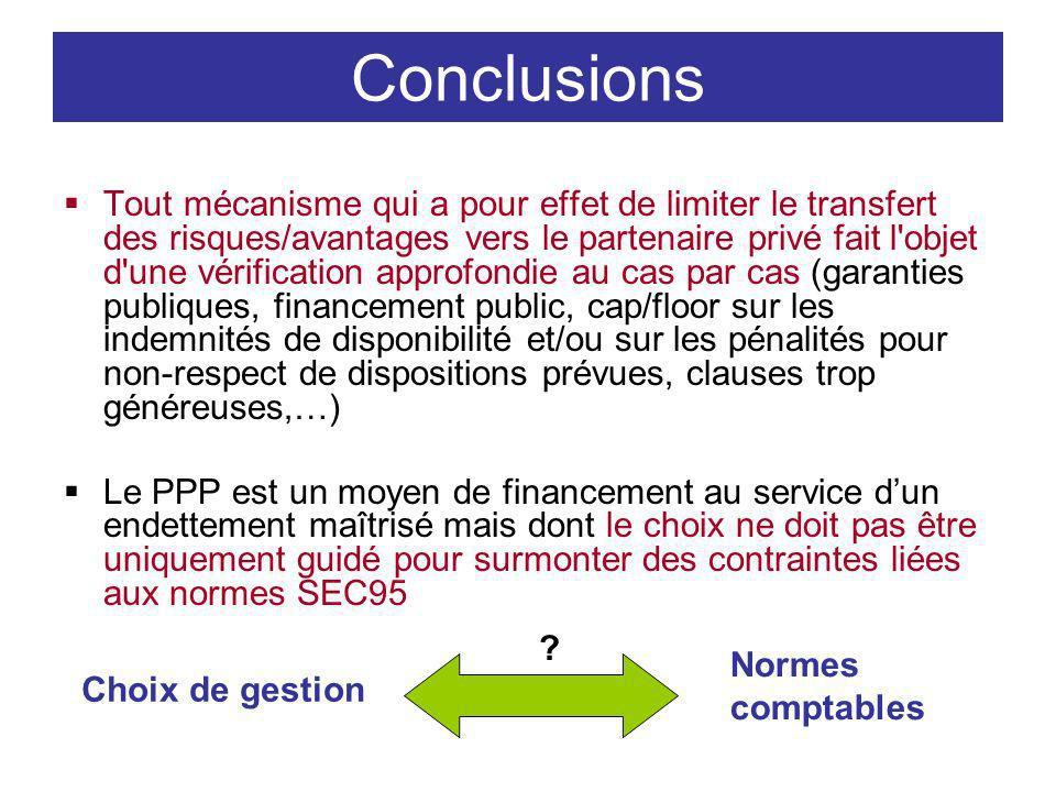 Conclusions Tout mécanisme qui a pour effet de limiter le transfert des risques/avantages vers le partenaire privé fait l'objet d'une vérification app
