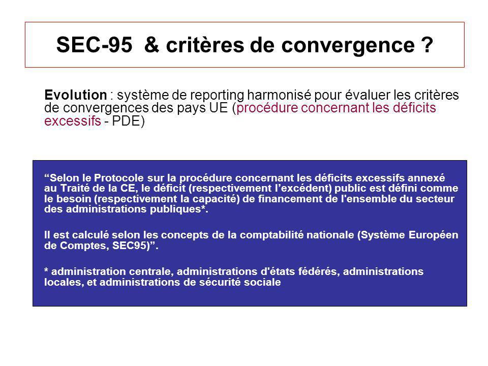 SEC-95 & critères de convergence ? Evolution : système de reporting harmonisé pour évaluer les critères de convergences des pays UE (procédure concern
