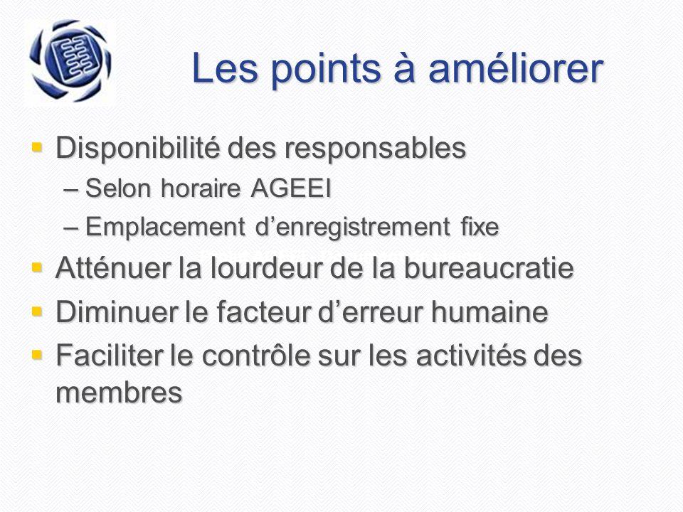 Projet AGEEI - Document de vision Les points à améliorer Disponibilité des responsables Disponibilité des responsables –Selon horaire AGEEI –Emplaceme