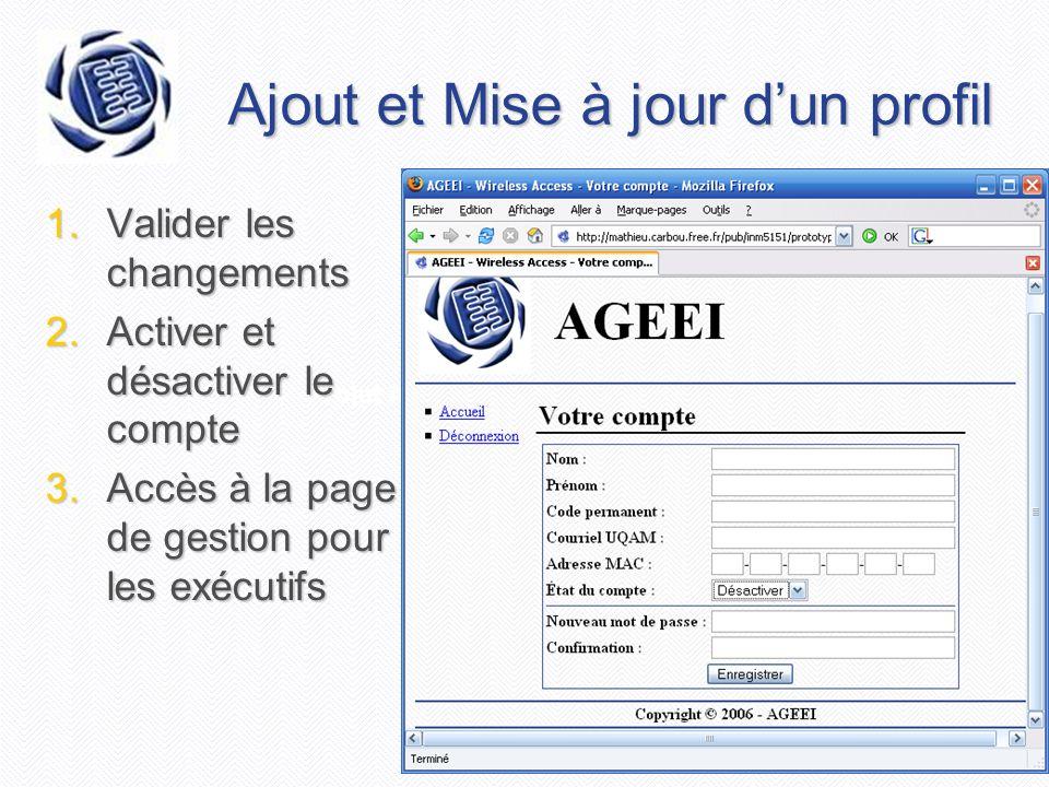 Projet AGEEI - Document de vision Ajout et Mise à jour dun profil 1.Valider les changements 2.Activer et désactiver le compte 3.Accès à la page de ges