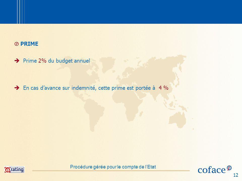 12 PRIME Prime 2% du budget annuel En cas davance sur indemnité, cette prime est portée à 4 % Procédure gérée pour le compte de lEtat