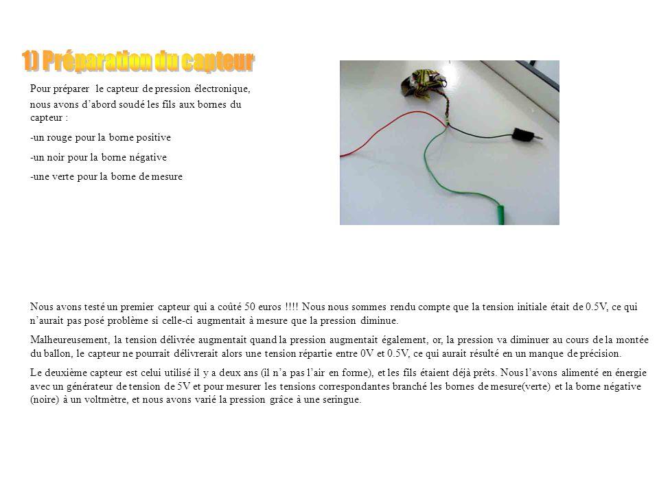 Pour préparer le capteur de pression électronique, nous avons dabord soudé les fils aux bornes du capteur : -un rouge pour la borne positive -un noir pour la borne négative -une verte pour la borne de mesure Nous avons testé un premier capteur qui a coûté 50 euros !!!.