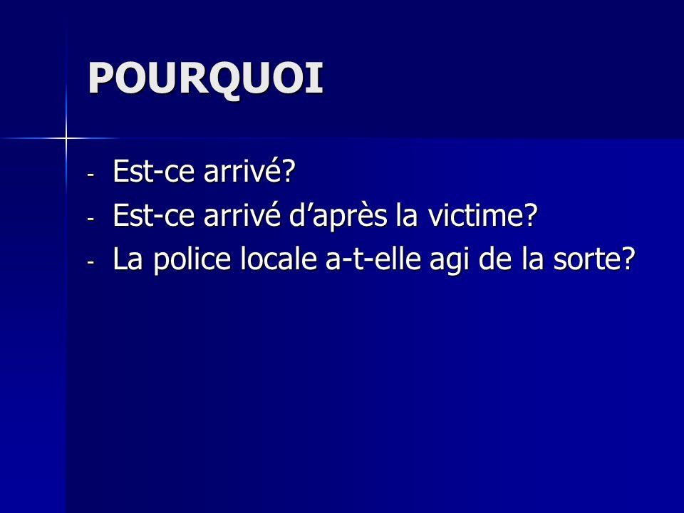POURQUOI - Est-ce arrivé? - Est-ce arrivé daprès la victime? - La police locale a-t-elle agi de la sorte?