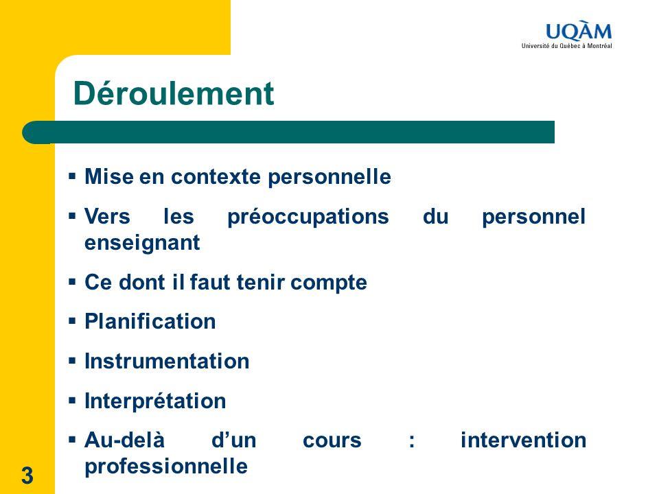 3 Déroulement Mise en contexte personnelle Vers les préoccupations du personnel enseignant Ce dont il faut tenir compte Planification Instrumentation