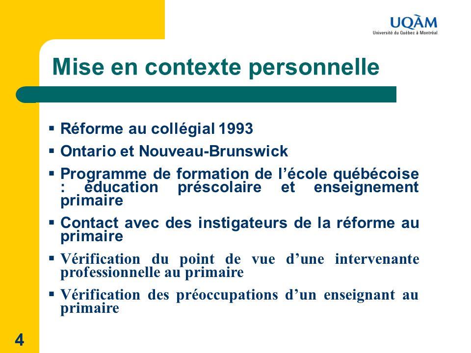 4 Mise en contexte personnelle Réforme au collégial 1993 Ontario et Nouveau-Brunswick Programme de formation de lécole québécoise : éducation préscola