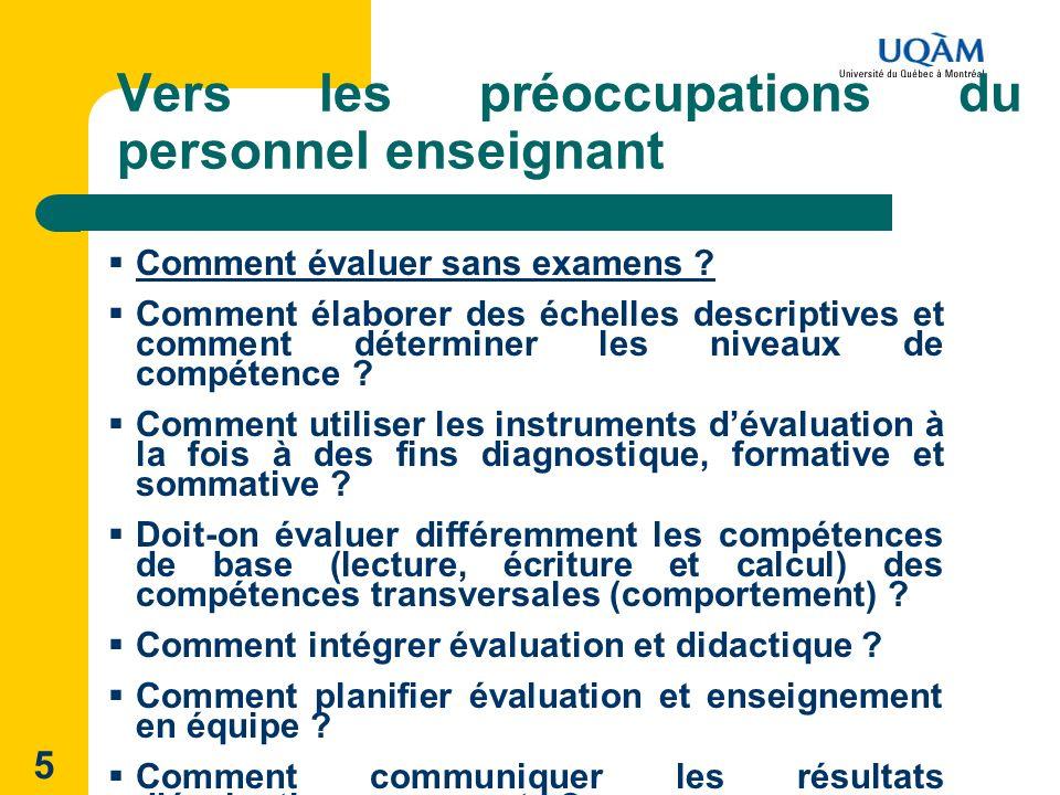 5 Vers les préoccupations du personnel enseignant Comment évaluer sans examens ? Comment élaborer des échelles descriptives et comment déterminer les