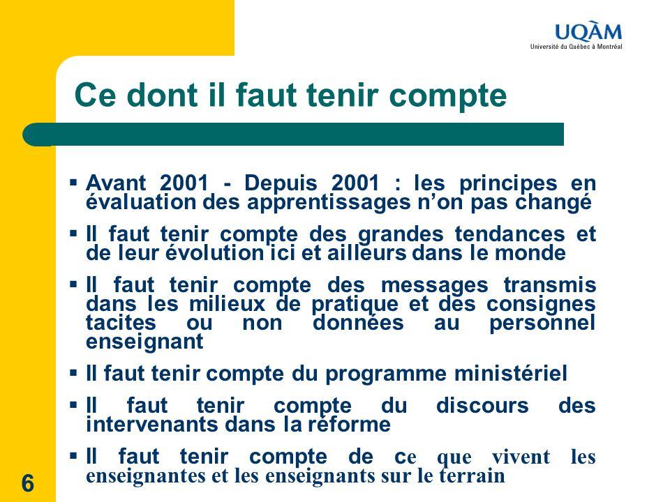 6 Ce dont il faut tenir compte Avant 2001 - Depuis 2001 : les principes en évaluation des apprentissages non pas changé Il faut tenir compte des grand