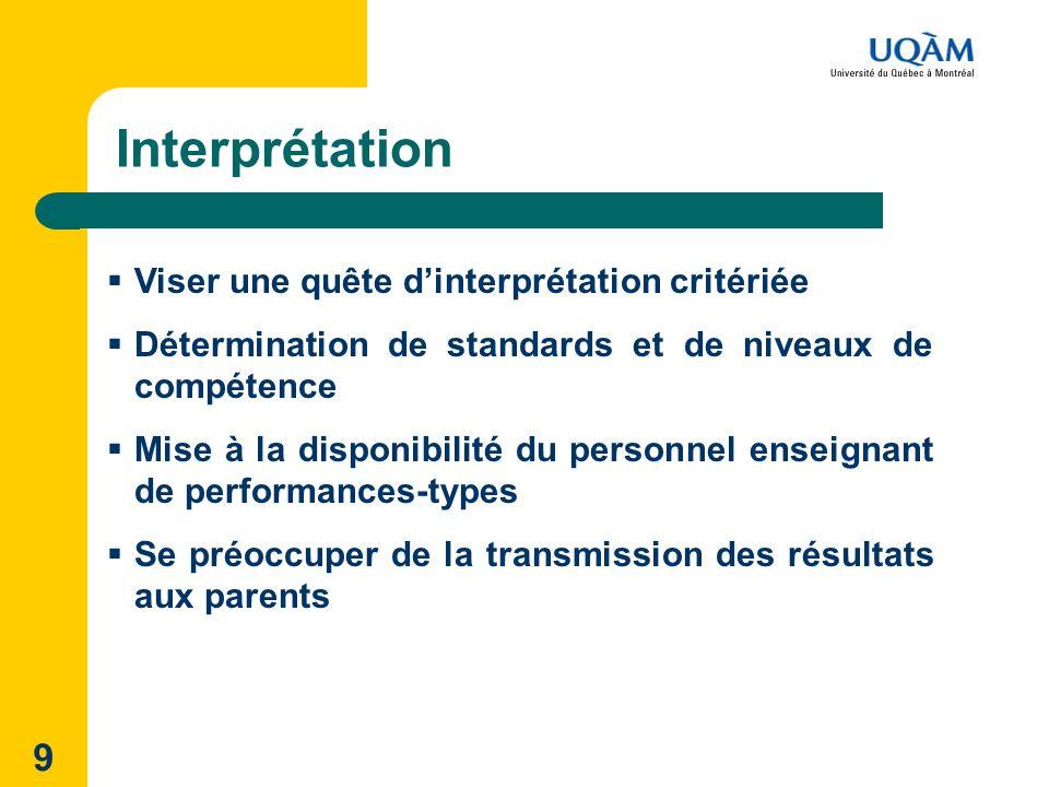 9 Interprétation Viser une quête dinterprétation critériée Détermination de standards et de niveaux de compétence Mise à la disponibilité du personnel enseignant de performances-types Se préoccuper de la transmission des résultats aux parents