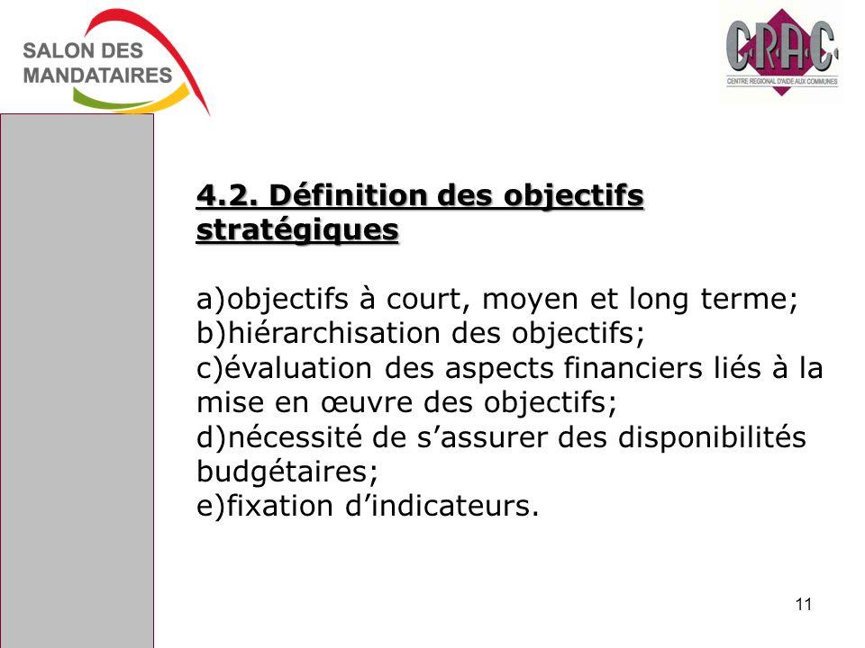 4.2. Définition des objectifs stratégiques a)objectifs à court, moyen et long terme; b)hiérarchisation des objectifs; c)évaluation des aspects financi