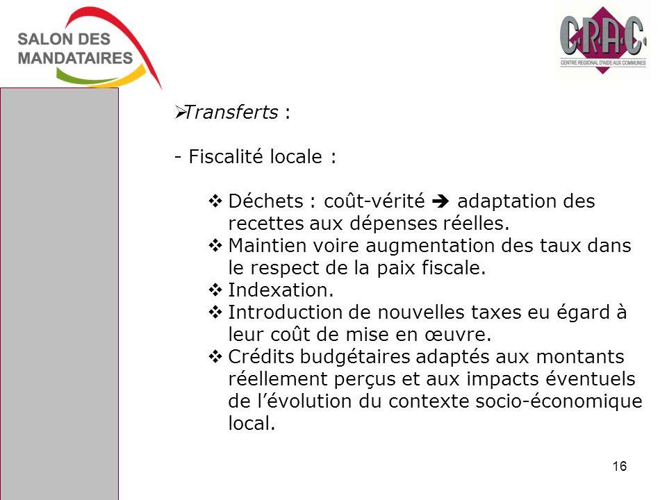 Transferts : - Fiscalité locale : Déchets : coût-vérité adaptation des recettes aux dépenses réelles. Maintien voire augmentation des taux dans le res