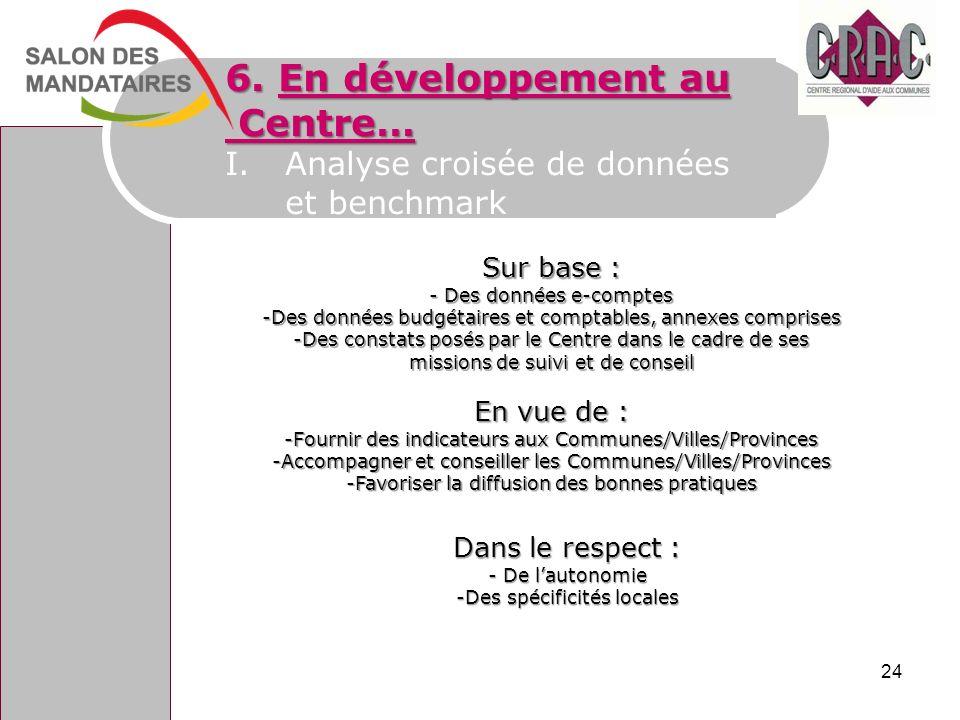 6. En développement au Centre… Centre… I.Analyse croisée de données et benchmark Sur base : - Des données e-comptes -Des données budgétaires et compta