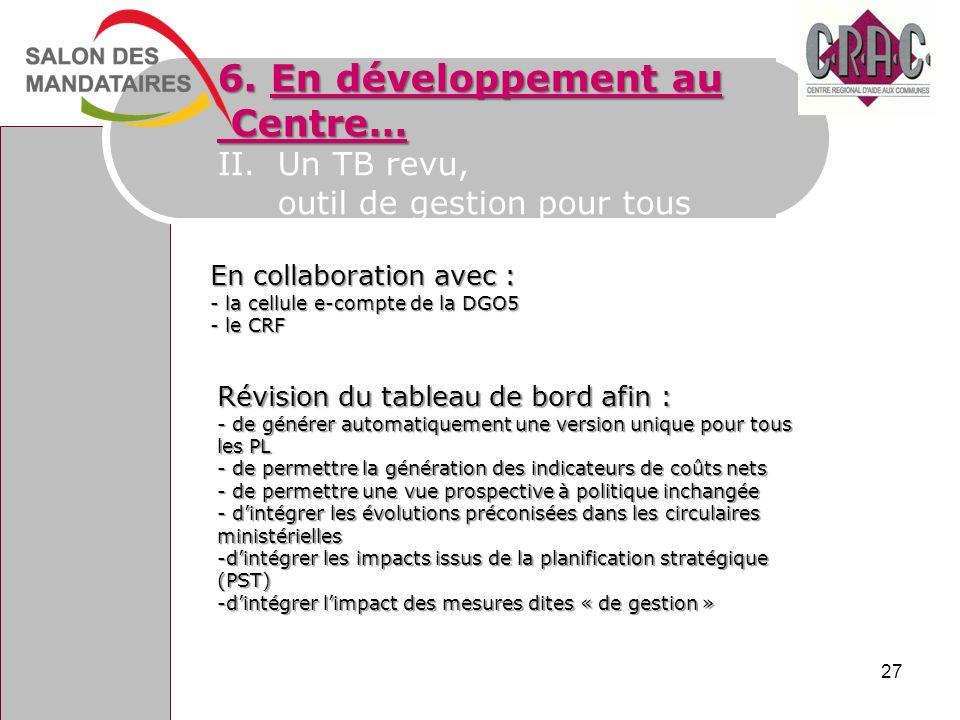 6. En développement au Centre… Centre… II.Un TB revu, outil de gestion pour tous En collaboration avec : - la cellule e-compte de la DGO5 - le CRF Rév