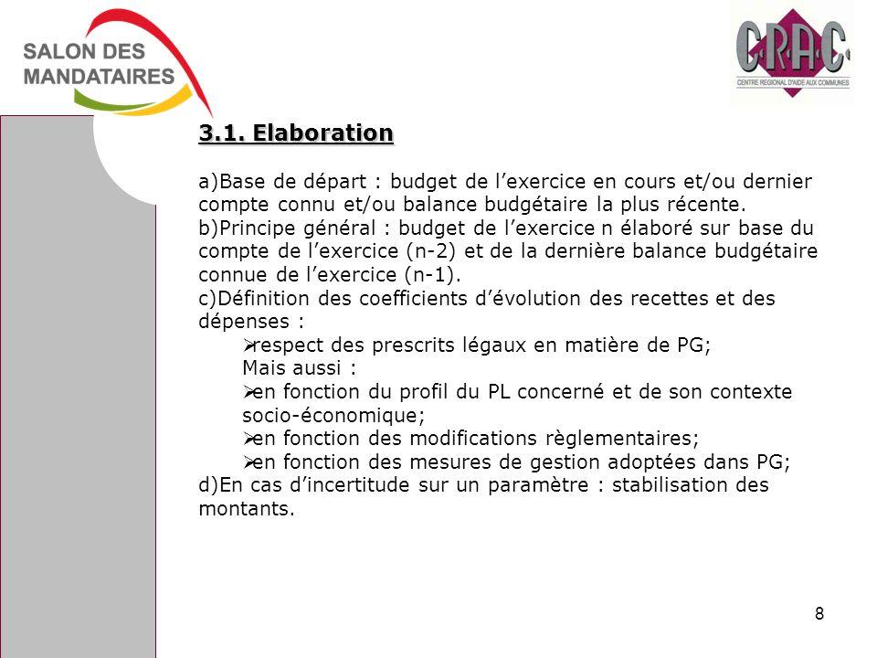 3.1. Elaboration a)Base de départ : budget de lexercice en cours et/ou dernier compte connu et/ou balance budgétaire la plus récente. b)Principe génér
