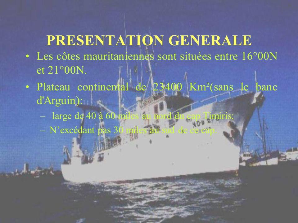 PRESENTATION GENERALE Les côtes mauritaniennes sont situées entre 16°00N et 21°00N. Plateau continental de 23400 Km²(sans le banc d'Arguin): – large d