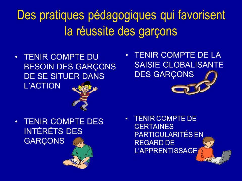 Des pratiques pédagogiques qui favorisent la réussite des garçons TENIR COMPTE DU BESOIN DES GARÇONS DE SE SITUER DANS LACTION TENIR COMPTE DE LA SAIS