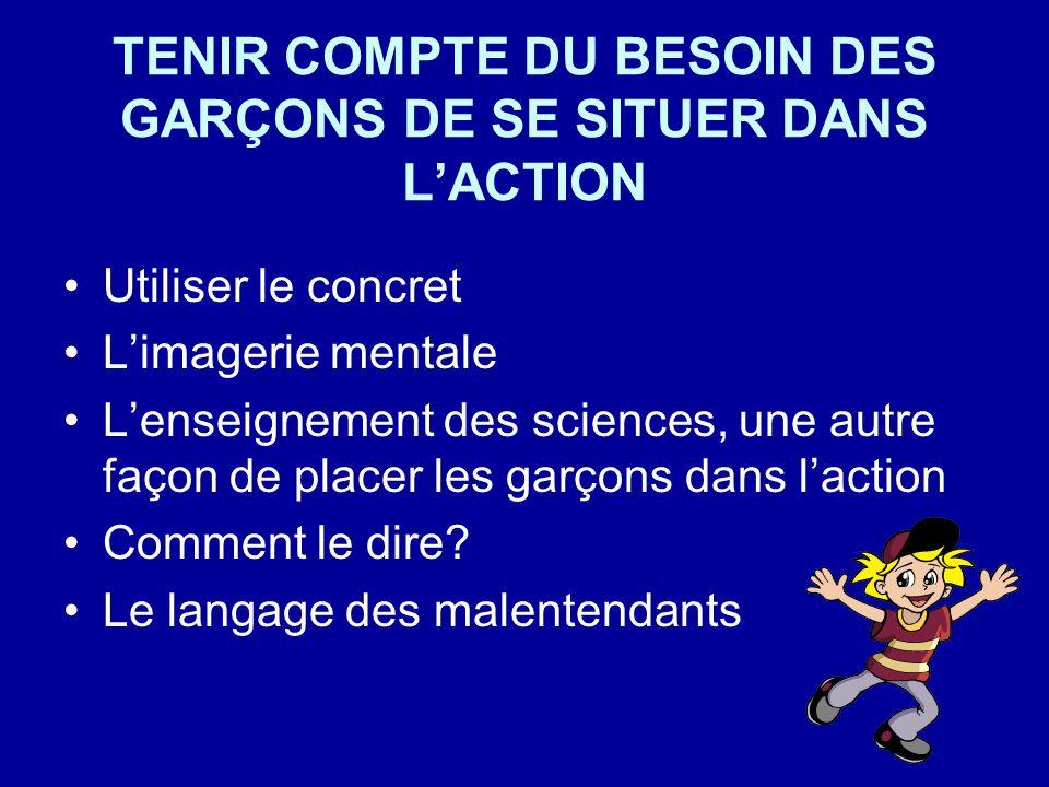 TENIR COMPTE DU BESOIN DES GARÇONS DE SE SITUER DANS LACTION Utiliser le concret Limagerie mentale Lenseignement des sciences, une autre façon de plac