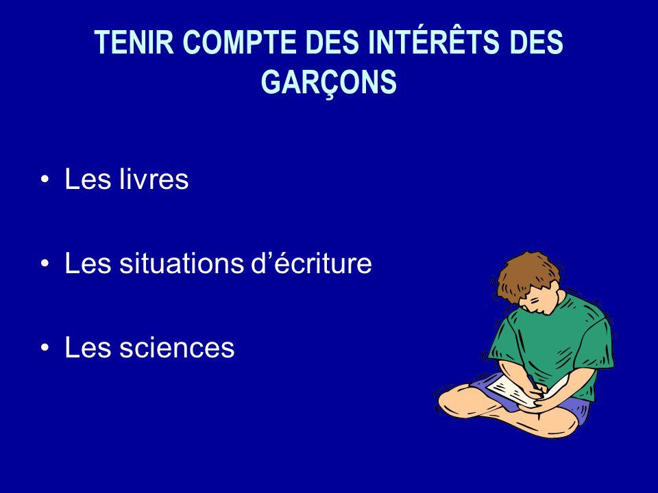 TENIR COMPTE DES INTÉRÊTS DES GARÇONS Les livres Les situations décriture Les sciences