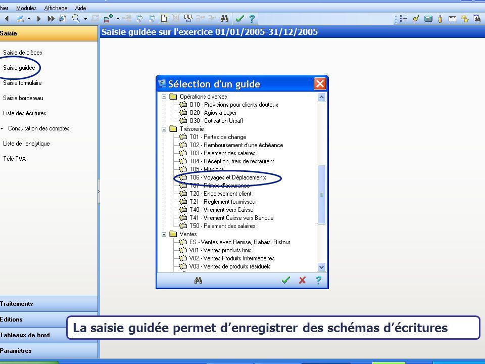Août 2007 La saisie guidée permet denregistrer des schémas décritures
