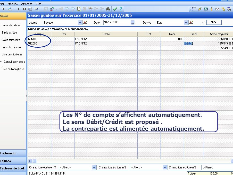 Août 2007 Les N° de compte saffichent automatiquement.