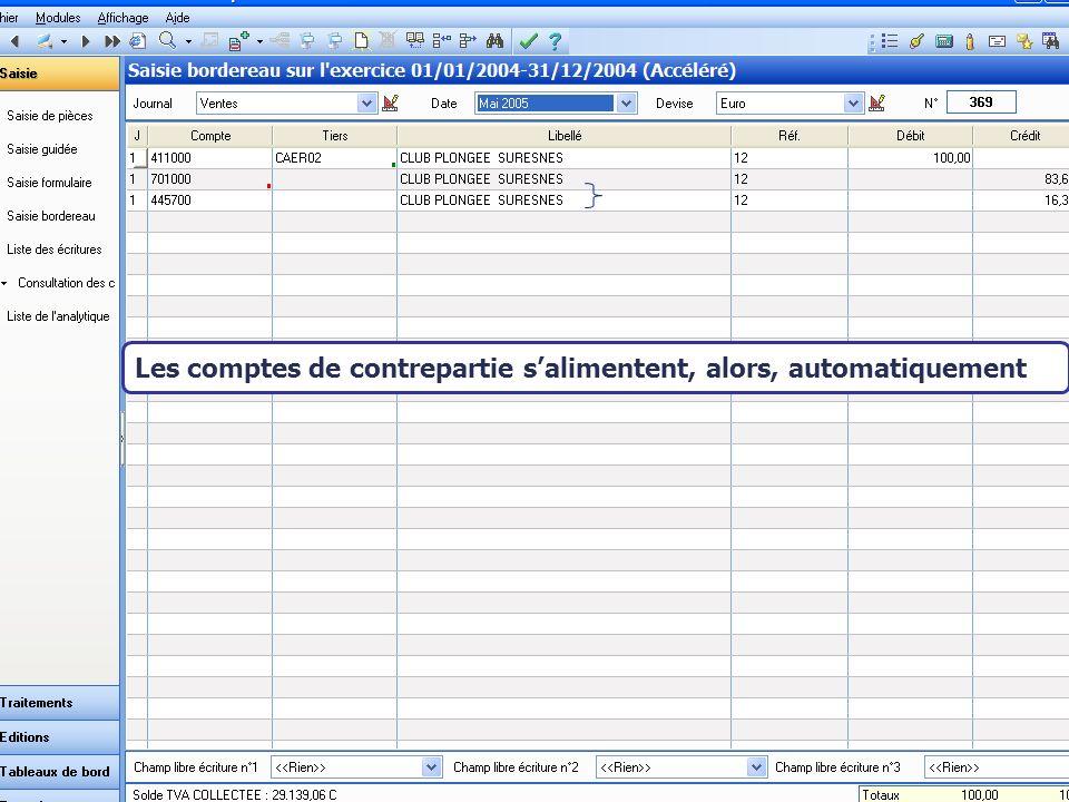 Août 2007 Les comptes de contrepartie salimentent, alors, automatiquement