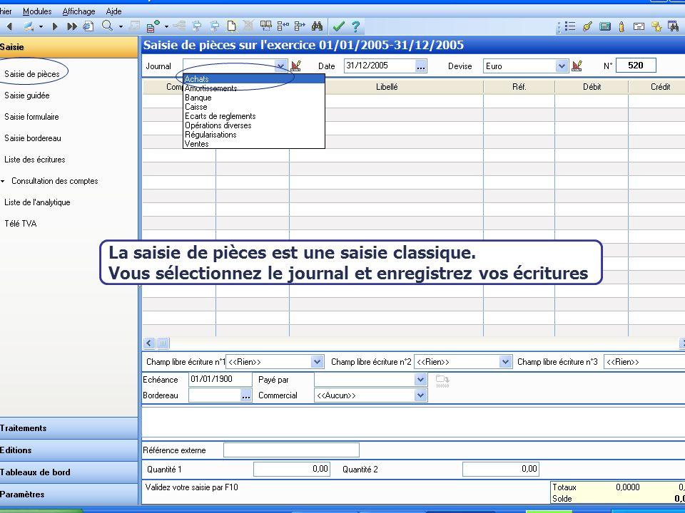 Août 2007 Les comptes de contrepartie salimentent, alors, automatiquement La saisie de pièces est une saisie classique.
