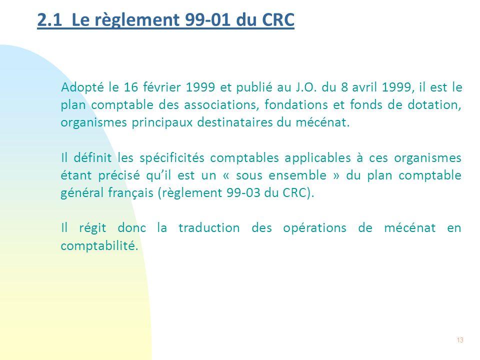 13 2.1 Le règlement 99-01 du CRC Adopté le 16 février 1999 et publié au J.O. du 8 avril 1999, il est le plan comptable des associations, fondations et