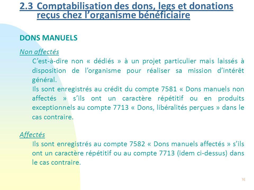 16 2.3 Comptabilisation des dons, legs et donations reçus chez lorganisme bénéficiaire DONS MANUELS Non affectés Cest-à-dire non « dédiés » à un proje