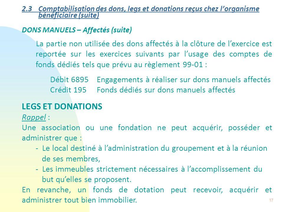 17 2.3 Comptabilisation des dons, legs et donations reçus chez lorganisme bénéficiaire (suite) DONS MANUELS – Affectés (suite) La partie non utilisée