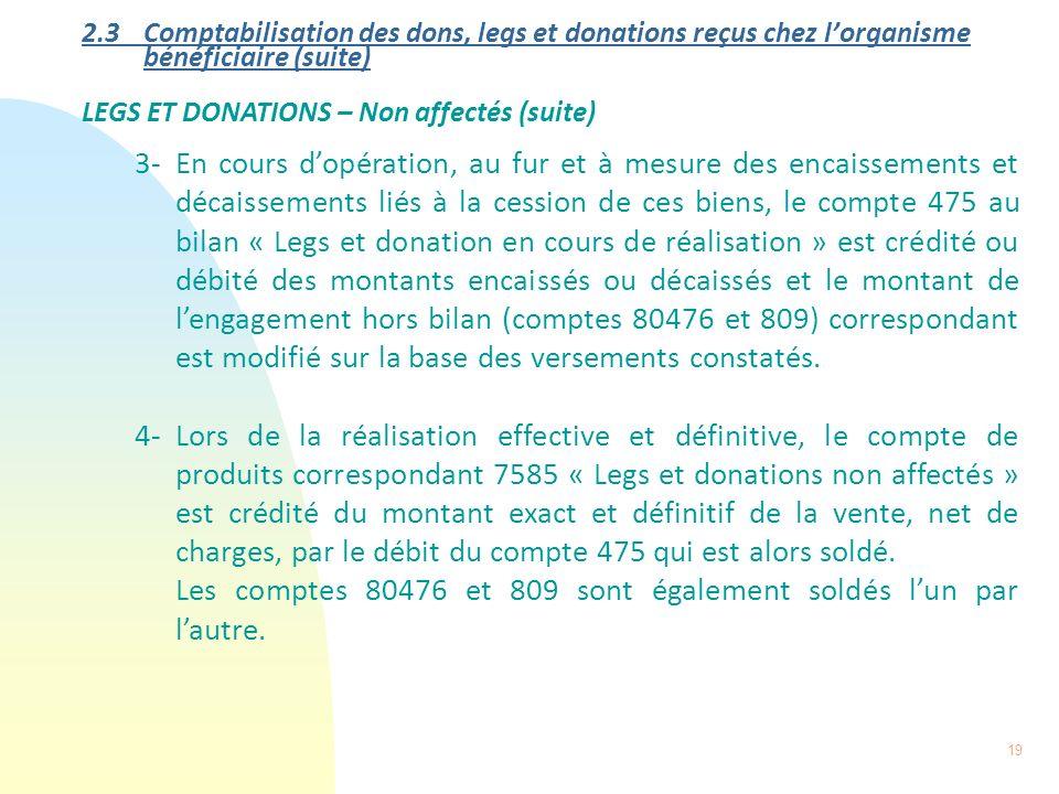 19 2.3 Comptabilisation des dons, legs et donations reçus chez lorganisme bénéficiaire (suite) LEGS ET DONATIONS – Non affectés (suite) 3-En cours dop