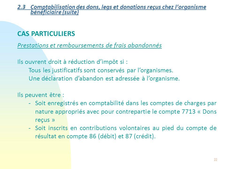 22 2.3 Comptabilisation des dons, legs et donations reçus chez lorganisme bénéficiaire (suite) CAS PARTICULIERS Prestations et remboursements de frais