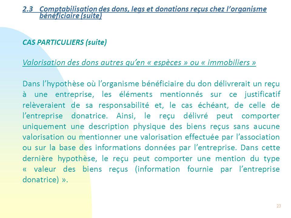 23 2.3 Comptabilisation des dons, legs et donations reçus chez lorganisme bénéficiaire (suite) CAS PARTICULIERS (suite) Valorisation des dons autres q