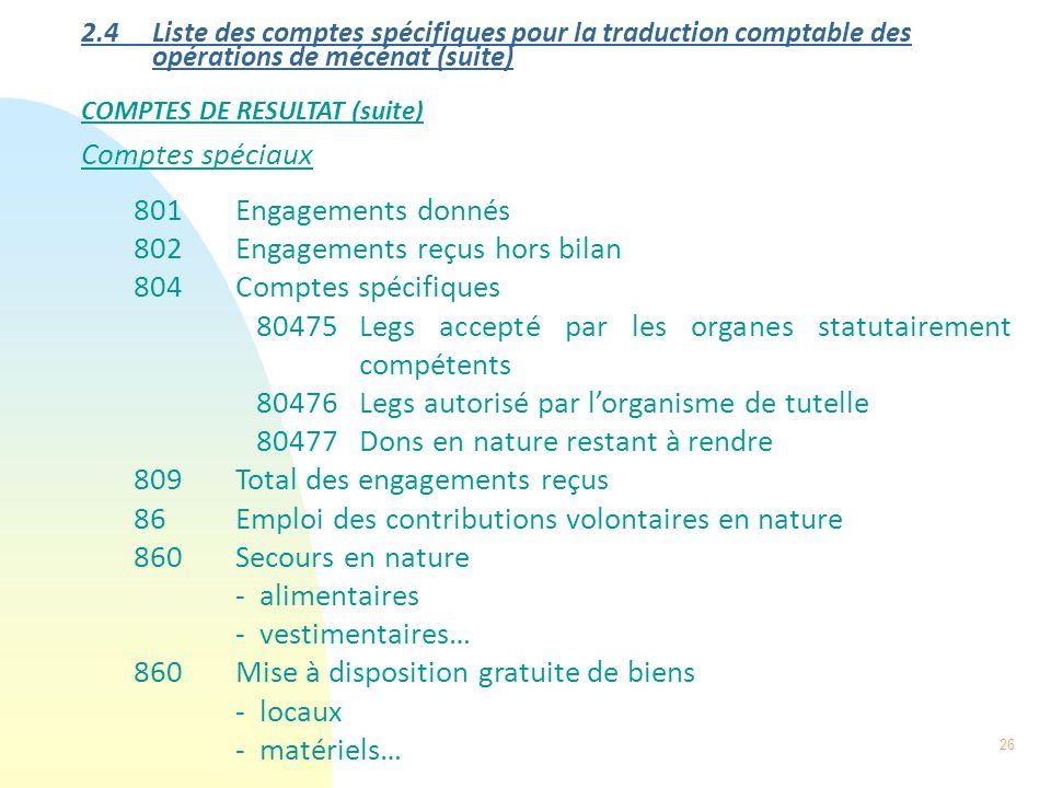26 2.4 Liste des comptes spécifiques pour la traduction comptable des opérations de mécénat (suite) COMPTES DE RESULTAT (suite) Comptes spéciaux 801En