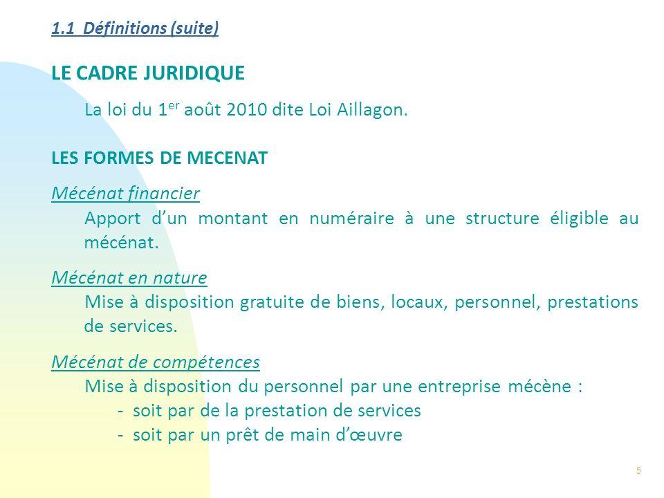 5 1.1 Définitions (suite) LE CADRE JURIDIQUE La loi du 1 er août 2010 dite Loi Aillagon. LES FORMES DE MECENAT Mécénat financier Apport dun montant en