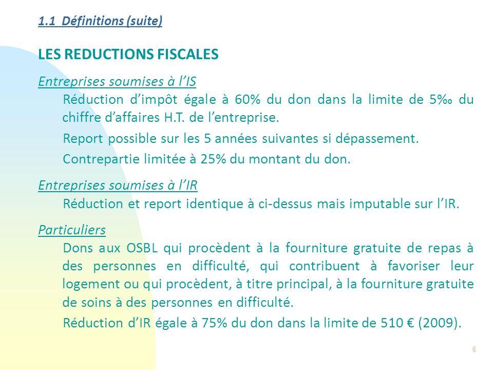 6 1.1 Définitions (suite) LES REDUCTIONS FISCALES Entreprises soumises à lIS Réduction dimpôt égale à 60% du don dans la limite de 5 du chiffre daffai