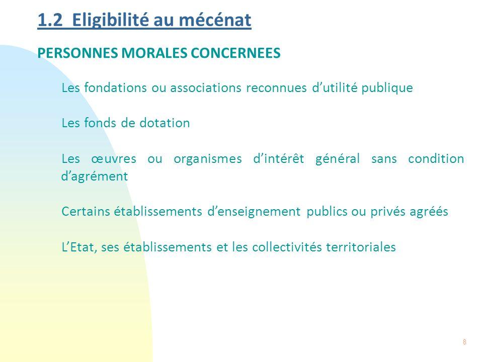 9 1.2 Eligibilité au mécénat (suite) CONDITIONS A SATISFAIRE Lorganisme bénéficiaire doit Être dintérêt général.