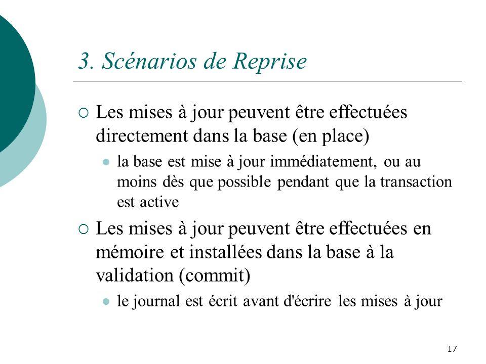 3. Scénarios de Reprise Les mises à jour peuvent être effectuées directement dans la base (en place) la base est mise à jour immédiatement, ou au moin