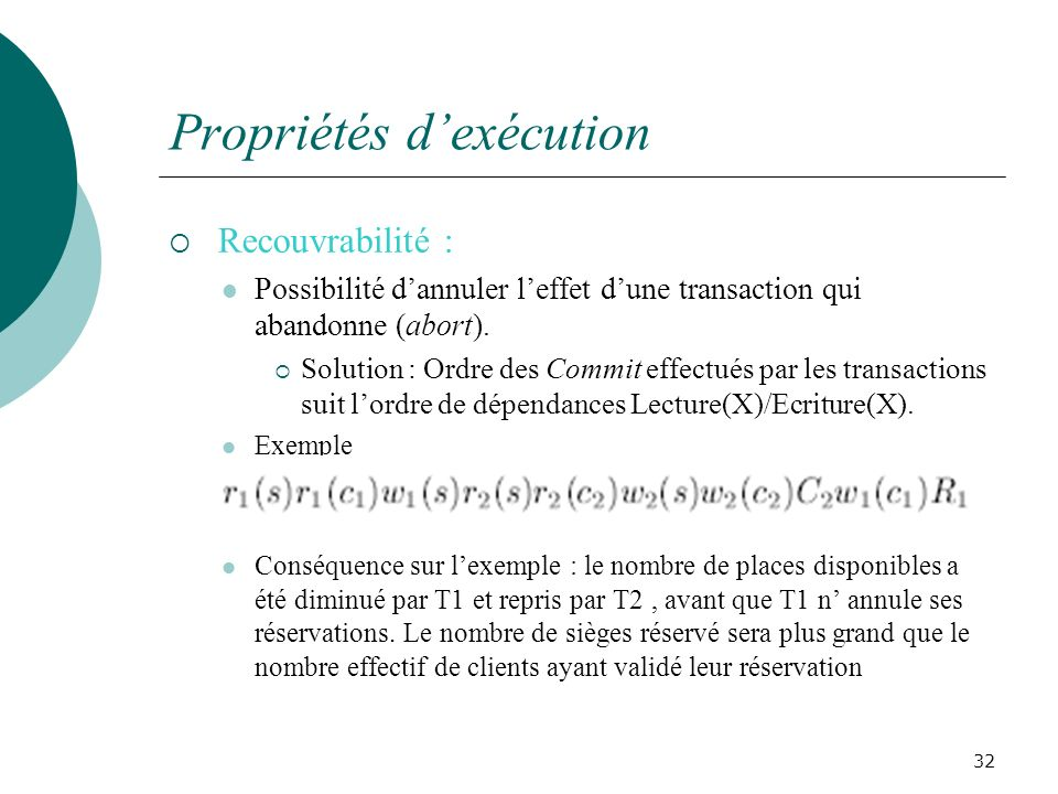 Propriétés dexécution Recouvrabilité : Possibilité dannuler leffet dune transaction qui abandonne (abort).