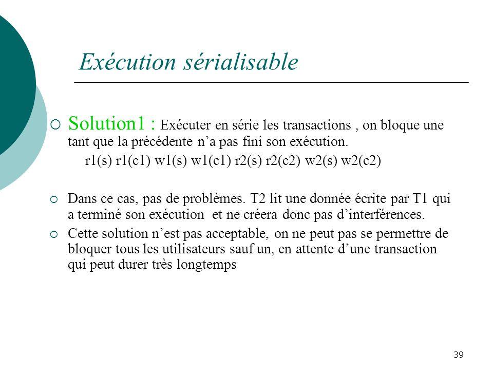 Solution1 : Exécuter en série les transactions, on bloque une tant que la précédente na pas fini son exécution.