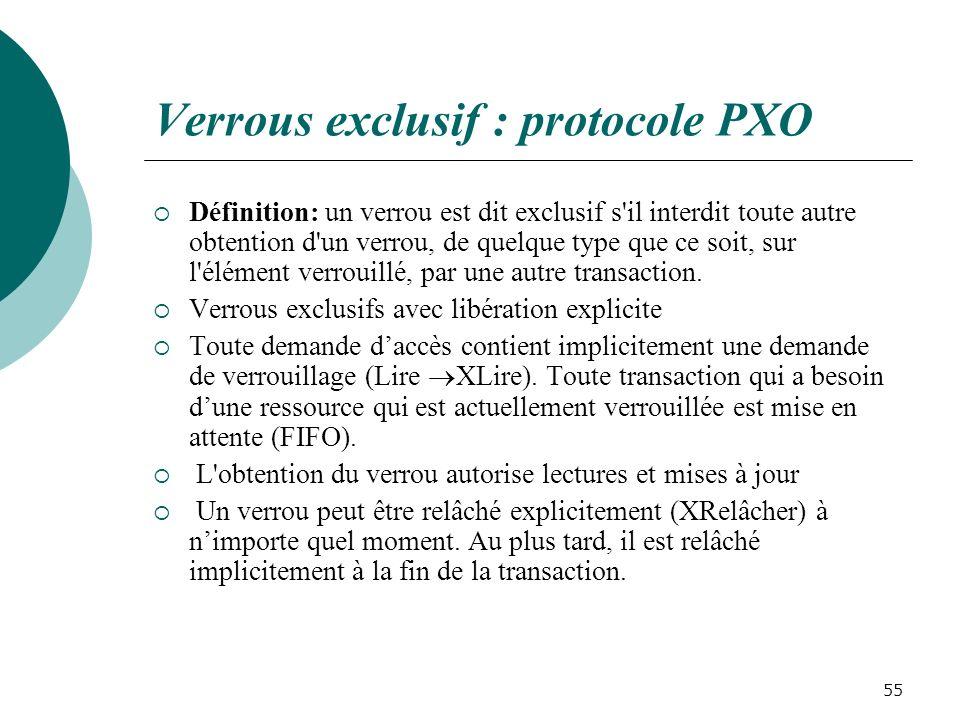 Verrous exclusif : protocole PXO Définition: un verrou est dit exclusif s il interdit toute autre obtention d un verrou, de quelque type que ce soit, sur l élément verrouillé, par une autre transaction.