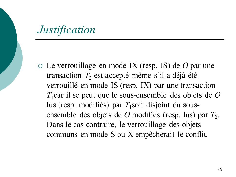 Justification Le verrouillage en mode IX (resp.