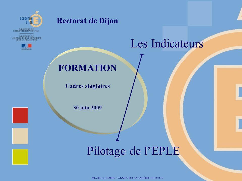 MICHEL LUGNIER – CSAIO / DR ACADÉMIE DE DIJON Rectorat de Dijon Les Indicateurs FORMATION Cadres stagiaires 30 juin 2009 Pilotage de lEPLE